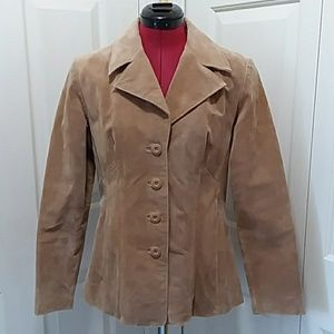 Wilson's Leather tan suede fit flare blazer jacket